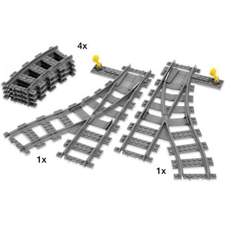 LEGO CITY - Agulhas em plástico (4 pcs. 2 agulhas + 2 curvas) 2017