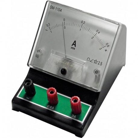 Amperímetro analógico p/ensino de 0-0,6A e 0-3A  c/100x100mm - C8423