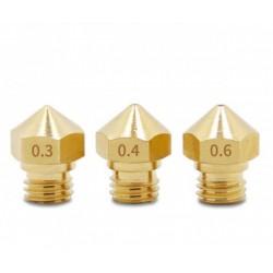 Conjunto 5 Bicos de Extrusão M6 para Impressora 3D (0.3,0.4,0.6,0.8,1.0mm)