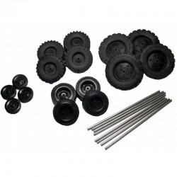Sortido de rodas de borracha + eixos 3mm - C6082