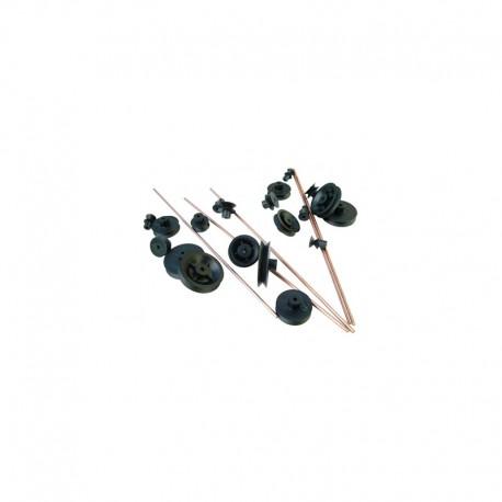 Sortido de rodas plásticas (polias) + eixos 2mm - C6087