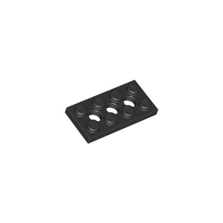 LEGO Peça - Plate technic 2x4 c/furos 3X4,9mm (Black) 1970