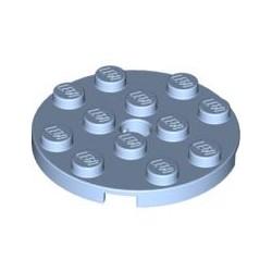 LEGO Peça - Round Plate 4x4 w. Snap (Light Royal Blue) 2012
