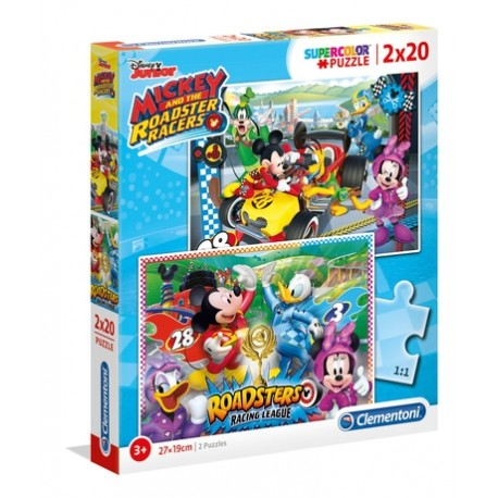 PUZZLE INFANTIL 2x20 pçs - Mickey Roadster Racers